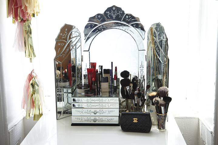 An antique mirror is the perfect place for making up