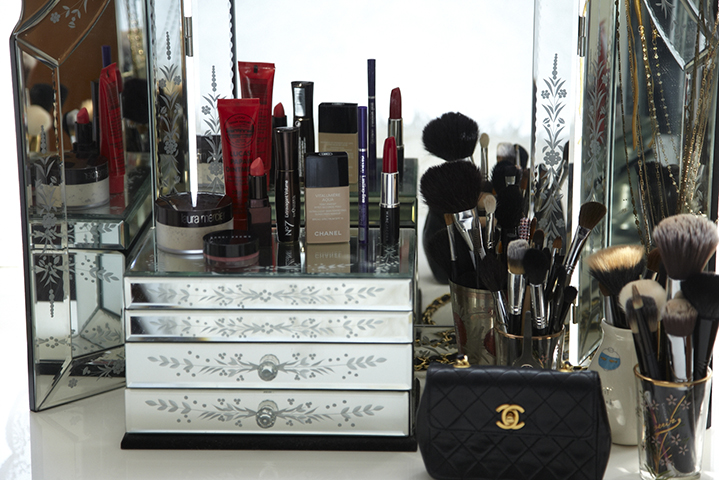 Chanel, Bobbi Brown and Laura Mercier take pride of place on Elle's dressing table