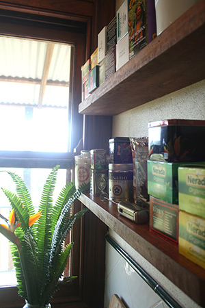 Tea shelf in Abigial's pantry
