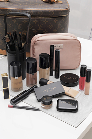 Giorgio Armani and Amy Jean Cosmetics take up the most room in Amy's makeup bag
