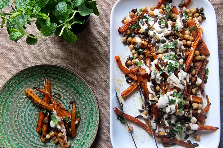 Citrus Cumin Roasted Carrots with Mint and Tahini Yoghurt