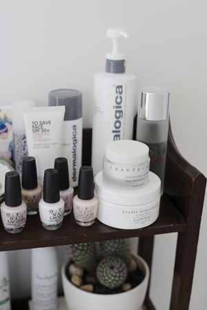 A selection of Bridget's skincare from Dermalogica and Chantecaille, as well as OPI nail polish