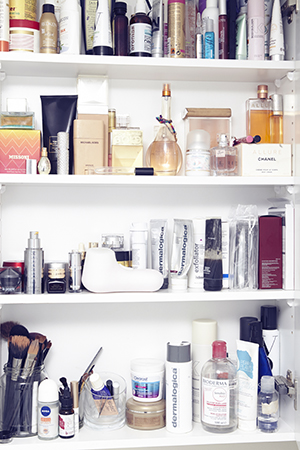Inside Sally's beauty cabinet in her Bondi home.