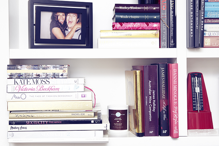 A selection of fashion, style and decor books adorns the entertainment unit