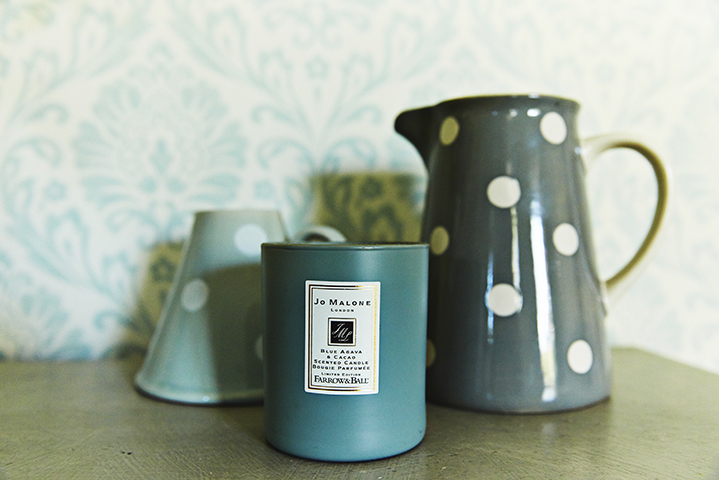 Jo Malone candles and polka dot vases from a homewares store in London
