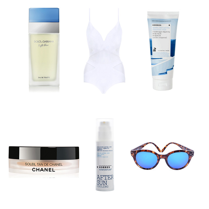Dolce & Gabbana  Light Blue Fragrance,  Zimmermann  Georgia One Piece Swimsuit,  Korres  Santorini Vine Body Milk,  Chanel  Soleil Tan De Chanel,  Korres  After Sun Yoghurt Cooling Gel,  Spektre  Vitesse Sunglasses