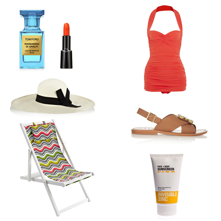 Tom Ford  Mandarino Di Amalfi Fragrance,  Georgio Armani  Rouge D'Armani Lipstick in 300,  Norma  Kamali Bill Mio Swimsuit,  Sensi Studio  Lady Ibiza Straw Hat,  Marni  Crystal Embellished Sandals, Missoni x Target Deck Chair (available Ocober 8th) and  Invisible Zinc  Face & Body Sunscreen SPF 30+