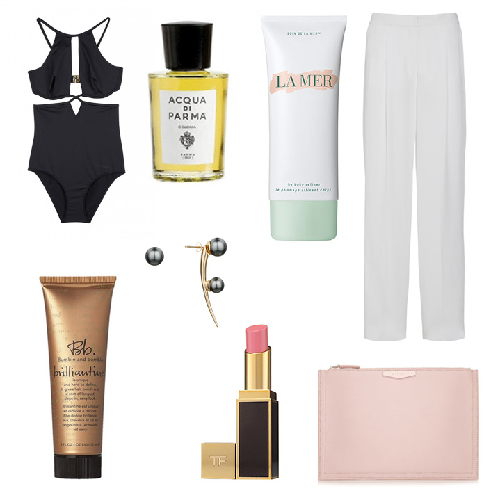 Ephemera  Noir Split One Piece, Acqua Di Parma Colonia Fragrance,  La Mer  The Body Refiner,  Stella McCartney  Constanza Wide-leg Pants,  Ryan Storer  Drop Hook Earring with Floating Pearl,   Bumble and Bumble  Brillantine,  Givenchy  Medium Antigona Clutch