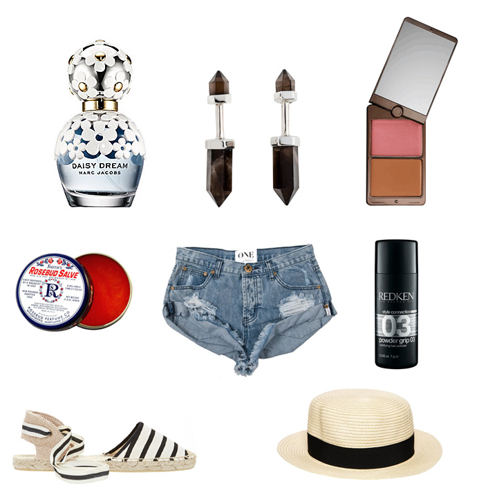 Marc Jacobs  Daisy Dream Fragrance,  MANIAMANIA  Dagger Earings,  Hourglass  Illume Bronze Duo,  Smith's  Rosebud Salve,  One Teaspoon  Rocky Bandits Denim Shorts,  Redken  03 Powder Grip,  Soludos  Classic Stripe Sandals and  ASOS  Straw Boater Hat.