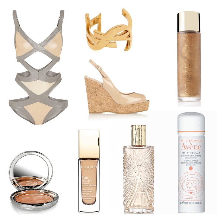 Agent Provocateur  Mazzy Metals Swimsuit,  Saint Laurent  Monogrammed Cuff,  St Tropez  Dry Luxe Oil,  Jimmy Choo  Prova Wedges,  By Terry  Terrybly Soleil Bronzer,  Clarins  Skin Illusion Foundation,  YSL  Saharienne Fragrance,  Avene  Eau Thermale Spring Water