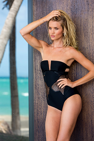 She has noticed a huge difference in her body and fitness thanks to Pilates. Rosie wears swimsuit by Suboo.