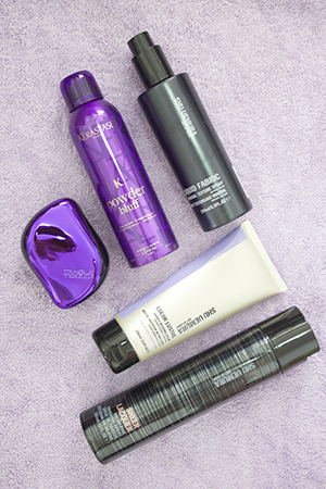 Hair favourites include the Tangle Teezer, Kerastase Powder Bluff and Shu Uemura styling products.