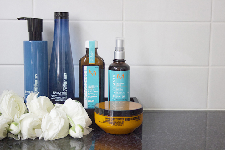 Her haircare consists of Shu Uemura shampoo & conditioner, as well Morroconoil treatments.
