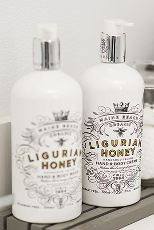 Maine Beach Ligurian Honey body wash and cream help maintain a tan