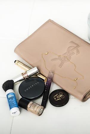 Clutch essentials:  Cover FX Foundation , Guerlain blush and  Stella McCartney  scent.