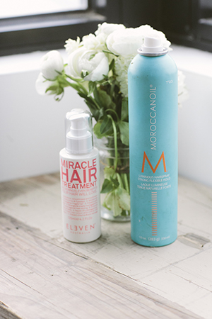 Morrocanoil Hairspray and Eleven Miracle treatment are her secret to beautiful hair.