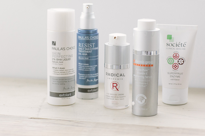 Nadia's skincare staples include products by Paula's Choice, Societe, Dr Dennis Gross and Radical