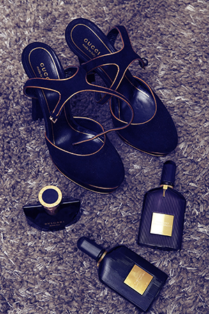 Luxe shoes and scents finish an outfit