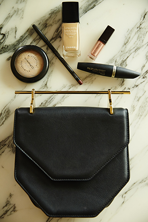 Robyn's M2Malletier bag and makeup essentials