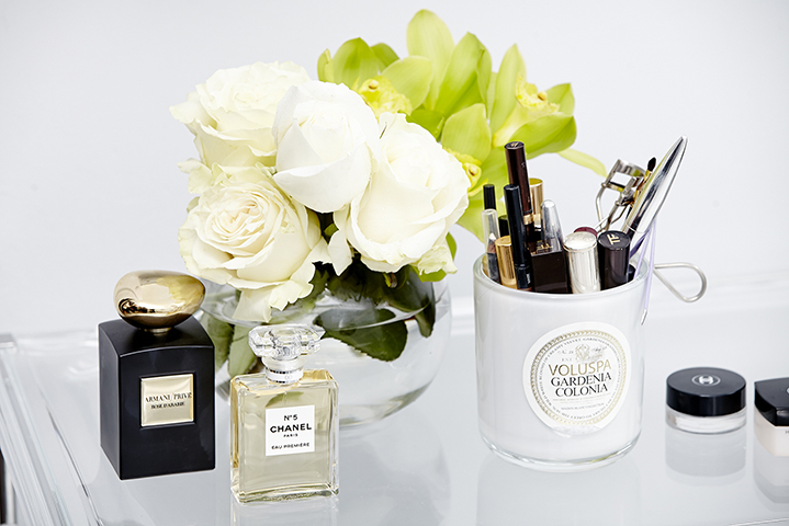 Chanel No. 5, Armani Prive and beautiful floral arrangement