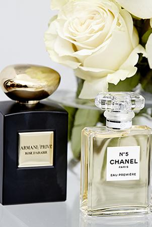 Chanel No. 5 and Armani Prive fragrances