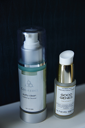Her skincare essentials.  Good Genes by Sunday Riley  and  Benefit Clean by CosMedix
