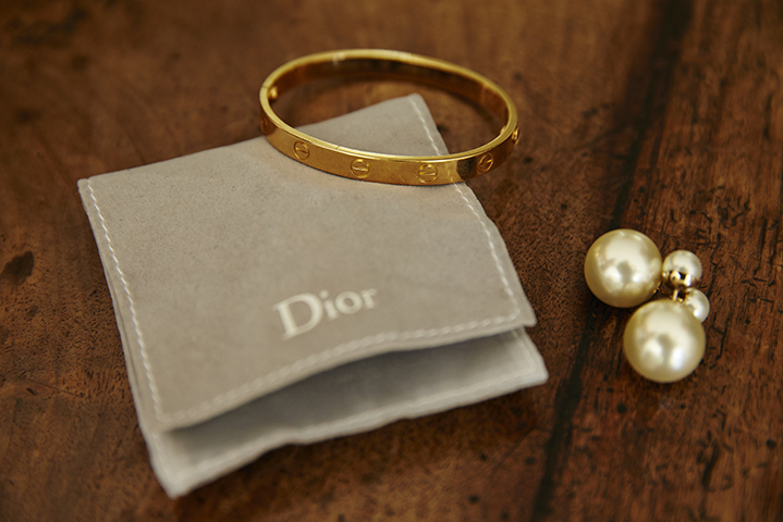 Sentimental pieces include her own Cartier love bracelets and Dior earrings that Sam gave to her.