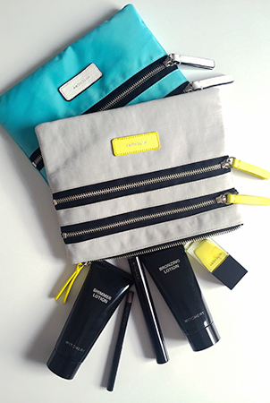 Witchery Rowena Zip Pouches, Shimmer Lotion. Bronzing Lotion, Fibre Lash Mascara. Wind Up Eye Pencil Gel and Gel Nail Polish in Vivid Yellow