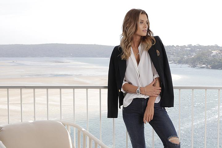 Keeping it Classic: ARalph Lauren blazer, Equipment white shirt, Frame denim jeans and a Rolex