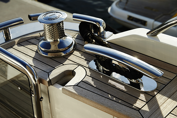 Chrome finishes on the luxury boat