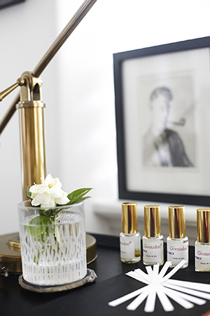 Golden accents on both fragrance and furniture