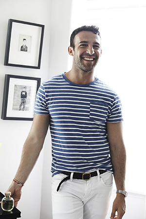 Nautical notes; the charming Carlos in a classic combo of stripes and white