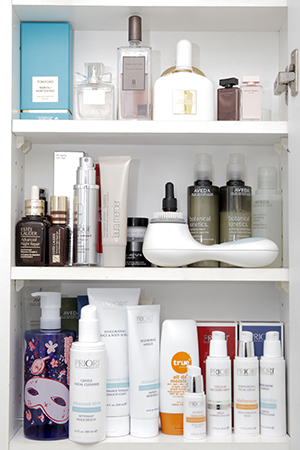 Skincare favourites in Erika's beauty cupboard.