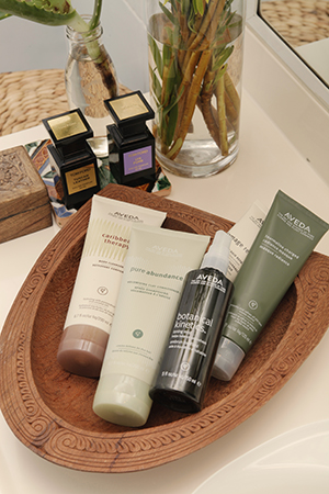An Aveda devotee, favourites include; Caribbean body cleanser, volumising clay conditioner and botanical toning mist.