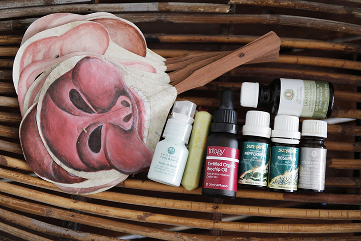 Meditative state; a range of essential oils help her relax and wind down at the end of a day.