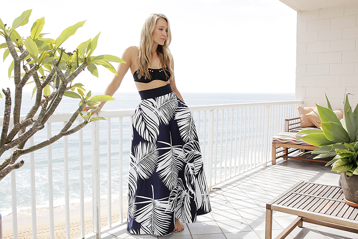 Beach chic; the stunning actor wears skirt by Sacha Drake and Seafolly bandeau