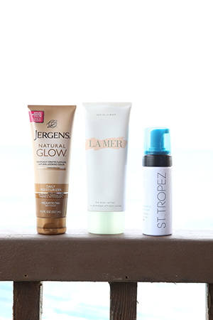 Jergen's, La Mer and St Tropez are Samantha's building blocks for creating a bronzed body.