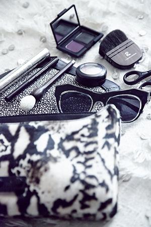 In her makeup bag - MAC, Nars and Rae Morris brushes
