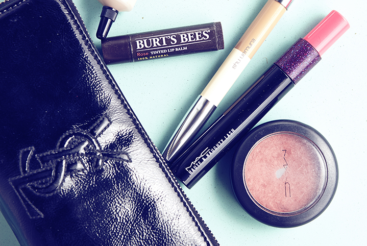 A glimpse into Penelope's makeup must haves, including Burt's Bees lip balm