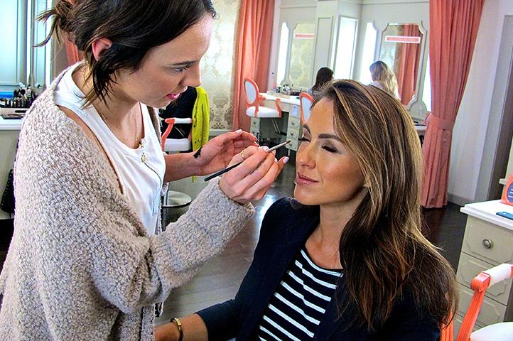 Makeup artist Tori does Sigourney's makeup at Blushington