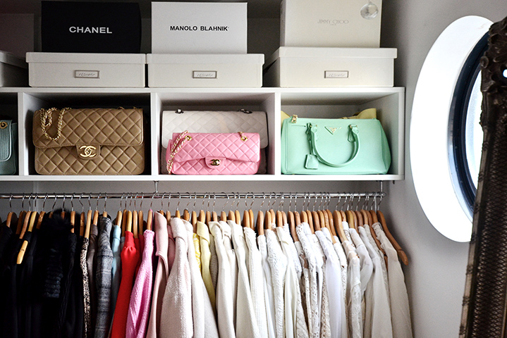 That closet! Neatly stocked with classic pieces from Chanel to Jimmy Choo (insert swoon here).