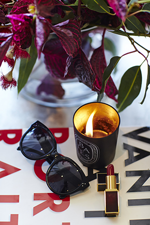 Luxe love; chic Celine sunnies, Diptyque and Tom Ford lippie for night's out