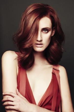 A model from Michael Kelly's 2012 collection for Aveda Colour Harmony.