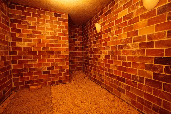 The amazing Himalayan salt room at the Tikkun Spa