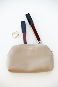 BAR RING, cleo pouch set, Witchery lip gloss wand in deep berry and DARK PLUM.