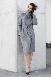 Sigourney wears grey wrap blanket coat, Caroline Heel and WITCHERY LIP GLOSS WAND IN DARK PLUM.