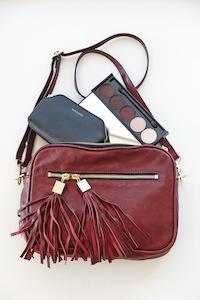 Tash crossbody bag,cleo pouch set, bordeaux eye palette.