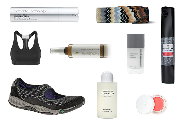 Elemental Herbology Moisture milk, Subtle Energies Aura Protection Mist, Merrell All Out Bold shoes, Natio Meditation Body Butter, Adidas by Stella McCartney Pull On Sports Bra, RMS Lip2Cheek in curous orange, Gypsy Water Body Wash, Dermalogica environmental control deodorant, Lululemon the Matt, MISSONI giancomo towel.