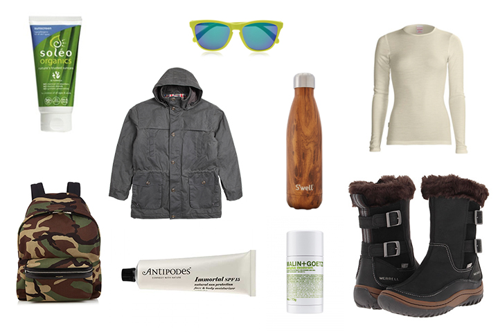 Soleo Organic Sunscreen, drizabone barkly field coat, Icebreaker Merino tech top long sleeve crew neck, Merrell Decora Chant Boots, Malin + Goetz Eucalyptus Deodorant, Antipodes IMMORTAL face & BODY moisturiser, saint laurant hunter backpack, oakley frogskins d-frame sunglasses, s'well teakwood water bottle