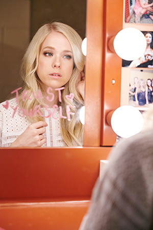 trust yourself; pretty in pink mantras inspire the blonde beauty